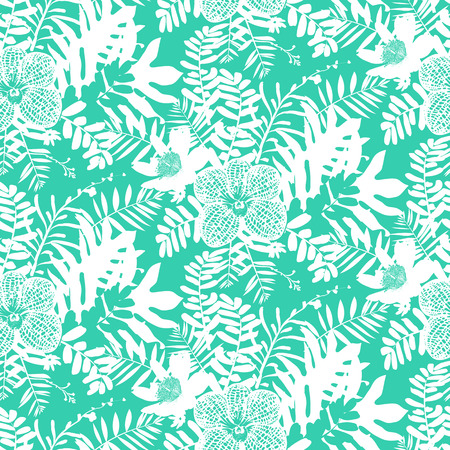 ferns: Vector seamless pattern with leafs and flowers inspired by tropical nature and plants like palm trees and ferns in bright colors for fall winter fashion. Colorful floral print, texture and background Illustration