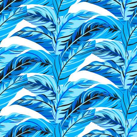 wintermode: Vector seamless pattern with leafs inspired by autumn nature and plants like palm trees and ferns in cool organic colors for fall winter fashion. Colorful floral texture and background