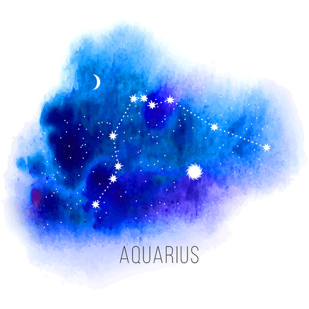 moon and stars: Astrology sign Aquarius on watercolor background.