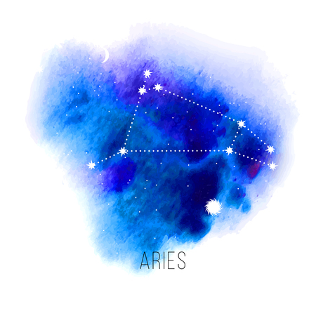 aries: Astrology sign Aries on blue watercolor background. Illustration