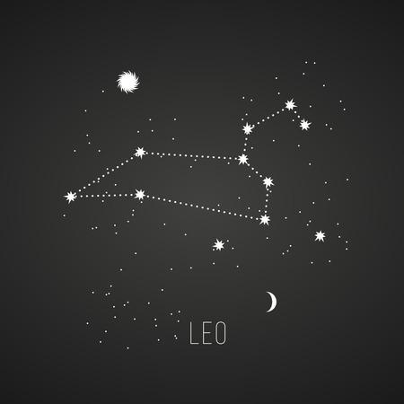 leo: Astrology sign Leo on chalkboard background.  Illustration