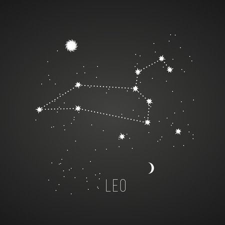 Astrology sign Leo on chalkboard background.  Illustration