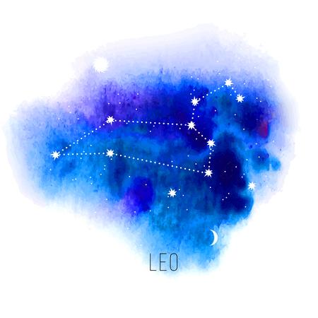 sonne mond und sterne: Astrologie Zeichen Löwe auf blauem Aquarellhintergrund.