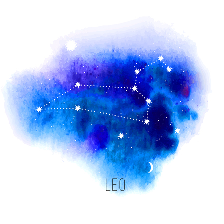 wisdom: Astrology sign Leo on blue watercolor background.  Illustration