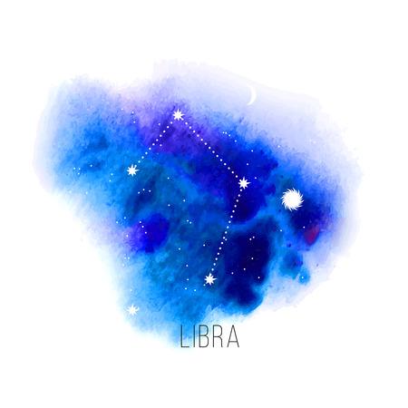 astrologie: Astrologie Zeichen Waage auf blauem Aquarellhintergrund. Illustration