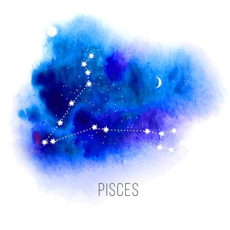astrologie: Astrologie Zeichen Fische auf blauem Aquarellhintergrund. Illustration