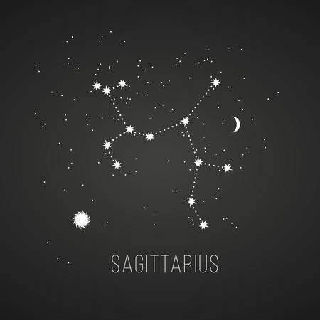 sol y luna: Astrología signo de Sagitario en el fondo pizarra. Vectores