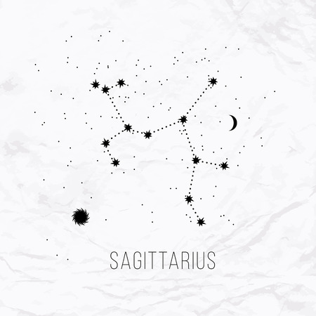 Astrology sign Sagittarius on white paper background.