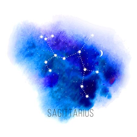 sonne mond und sterne: Astrologie-Zeichen-Schütze auf Aquarell Hintergrund.