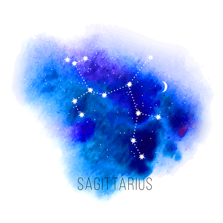 Astrology sign Sagittarius on watercolor background.