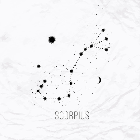 Astrology sign Scorpius on white paper background.
