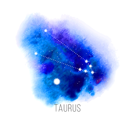 astrology: Astrology sign Taurus on blue watercolor background.
