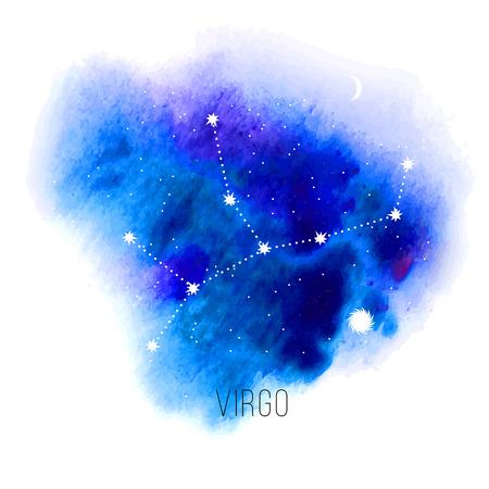 mystical: Astrology sign virgo on blue watercolor background. Illustration
