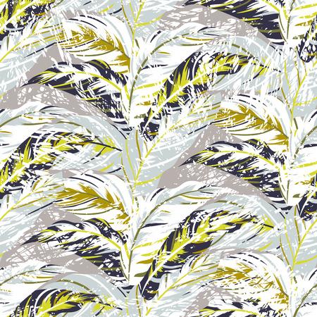 bird of paradise: Modelo inconsútil del vector con las hojas inspiradas en la naturaleza del otoño y plantas como palmeras y helechos en colores orgánicos frescos para la moda otoño invierno. Textura colorida floral y fondo