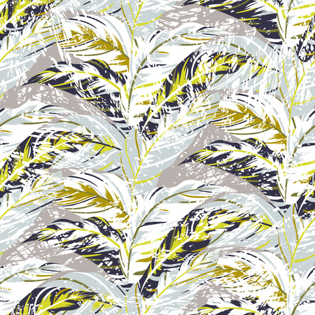 bird of paradise: Vector seamless pattern with leafs inspired by autumn nature and plants like palm trees and ferns in cool organic colors for fall winter fashion. Colorful floral texture and background