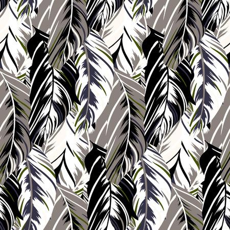 熱帯の鳥とオウムの羽の自然にインスピレーションを得たパターン ベクトルの葉します。シームレスな羽テクスチャ手線とストライプ暗い中立的な