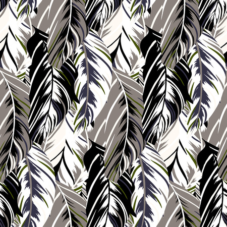 Vector pattern inspired by tropical birds and nature, parrots wings, leaves. Seamless feather texture hand drawn in dark neutral colors with lines and stripes. Bold print for winter fall fashion Zdjęcie Seryjne - 47355108