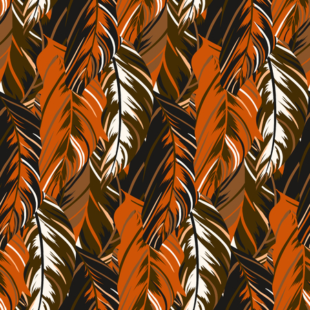 hand drawn wings: Vector pattern inspired by tropical birds, parrots wings. Seamless feather texture hand drawn in organic brown colors with lines, stripes and abstract shapes. Bold print for winter fall fashion