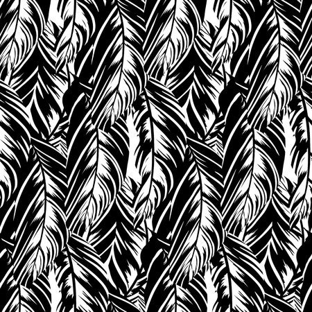 Vector pattern inspired by tropical birds and nature, parrots wings, husta leaves. Seamless feather texture hand drawn in black and white with lines and stripes. Bold print for winter fall fashion