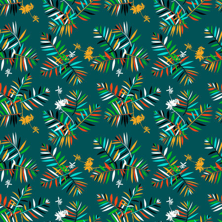 fall winter: Vector seamless pattern with leafs inspired by tropical nature and plants like palm trees and ferns in cool organic green colors for fall winter fashion. Colorful floral texture and background