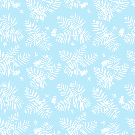 Vector seamless pattern with leafs inspired by tropical nature and plants like palm trees and ferns in soft blue and white colors. Print for fall winter fashion. Floral texture and background