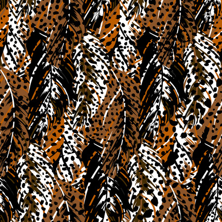 fall fashion: Vector pattern inspired by tropical birds, parrots wings. Seamless feather texture hand drawn in organic brown colors with splattered dots. Bold print for winter fall fashion Illustration