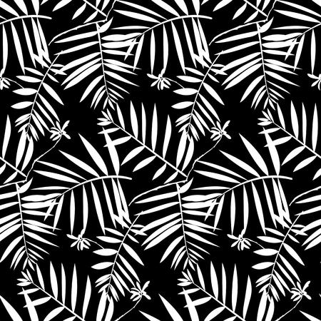ベクターのシームレスなパターンは葉葉ヤシの木とシダの黒と白の落ちる冬のファッションのような熱帯の自然と植物に触発され。グラフィックの