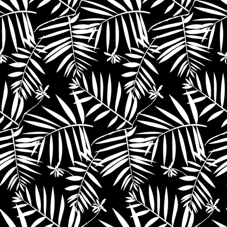leaf: Vector seamless pattern with leafs inspired by tropical nature and plants like frond palm tree and ferns in black and white for fall winter fashion. Graphic floral print, simple texture and background