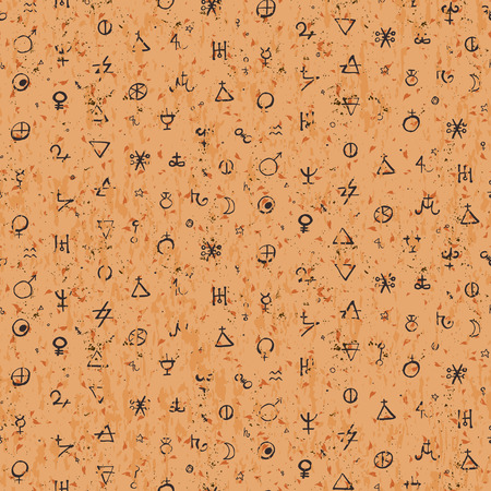 alchemy: Vector geometric pattern with alchemy symbols and shapes.