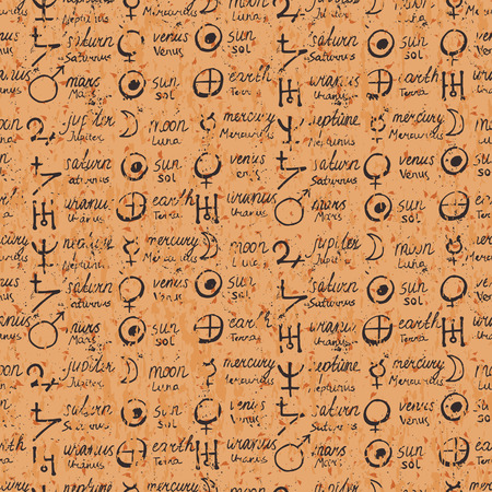 mystical: Vector geometric pattern with alchemy symbols, shapes, and planets names in table.