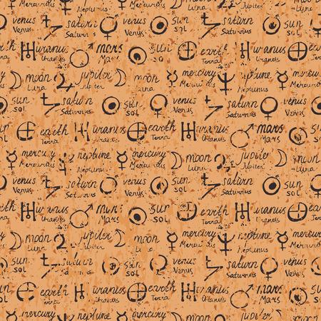 Vector geometrisch patroon met alchemie symbolen, vormen, met de hand geschreven planeten namen. Occulte, mystieke tekens op perkament. Tarot kaarten design. Magic print en astrologie achtergrond. Oud manuscript