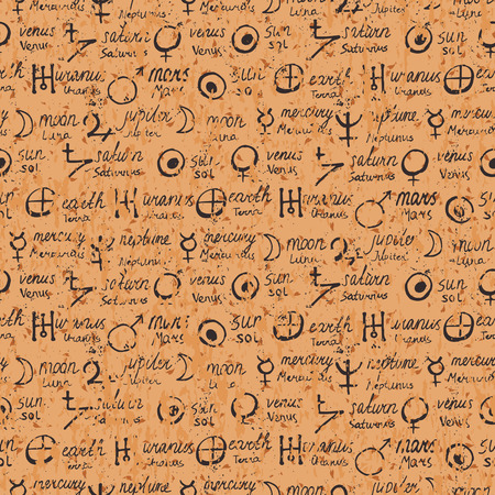 Vector patrón geométrico con símbolos de la alquimia, formas, escritas a mano planetas nombres. , Signos místicos ocultos en pergamino. Diseño de las cartas del Tarot. Impresión magia y astrología. Manuscrito antiguo Ilustración de vector