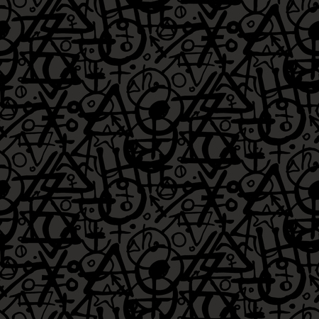 alchemist: Vector geometric pattern with alchemy symbols, shapes and planets logos in big size. Illustration