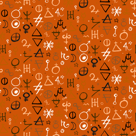 medium size: Vector geometric pattern with alchemy symbols and shapes in medium size Abstract occult, mystic signs on parchment.