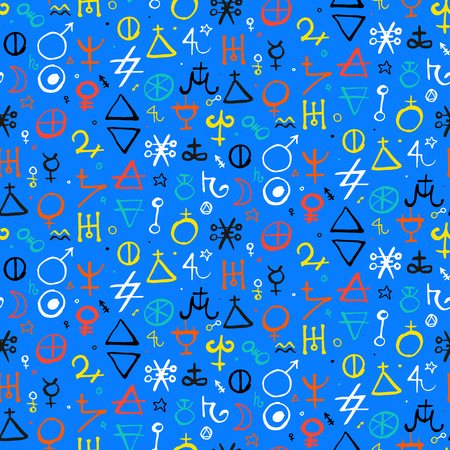 Vector geometric pattern with alchemy symbols and shapes in medium size.