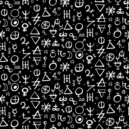 Vector geometric pattern with alchemy symbols and shapes in medium size. Çizim