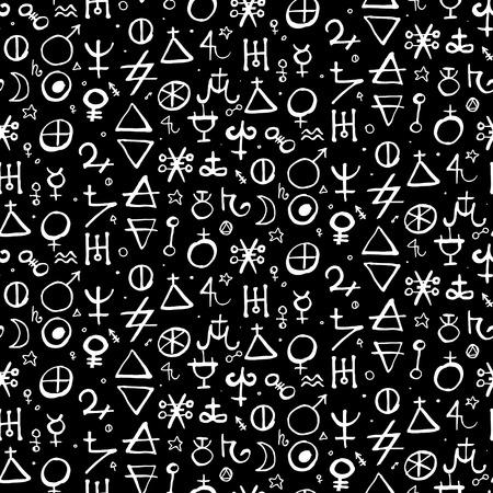 Vector geometric pattern with alchemy symbols and shapes in medium size. Ilustração