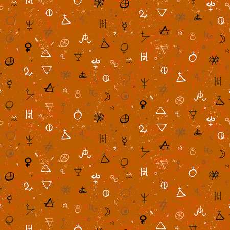 pattern of geometric shapes: Vector geometric pattern with alchemy symbols and shapes in small size.