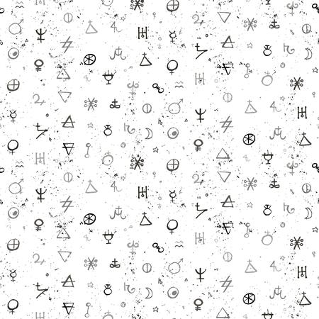 錬金術シンボルとスモール サイズの図形とベクトル幾何学模様。