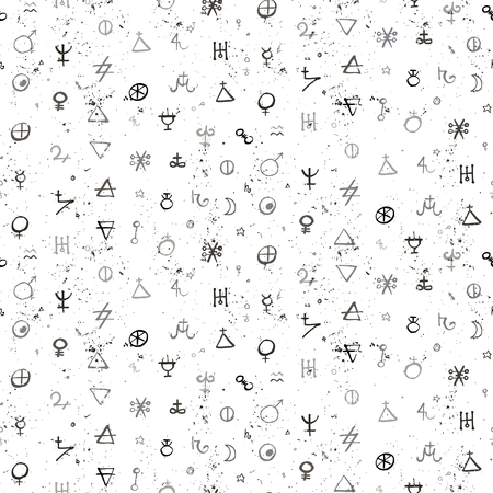 Vector geometric pattern with alchemy symbols and shapes in small size. Ilustração