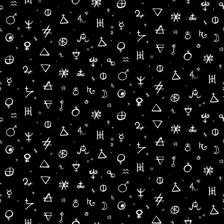 錬金術シンボル ・図形・ スモール サイズの惑星を持つベクトル幾何学模様。