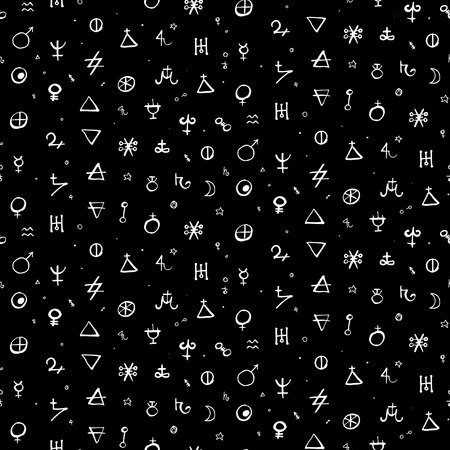 Vector geometric pattern with alchemy symbols, shapes and planets in small size.