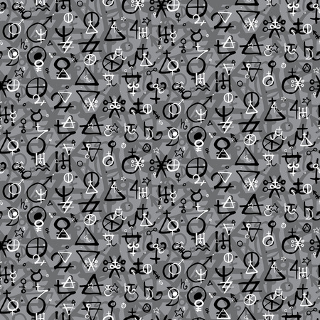 medium size: Vector geometric pattern with alchemy symbols, shapes and planets in medium size.