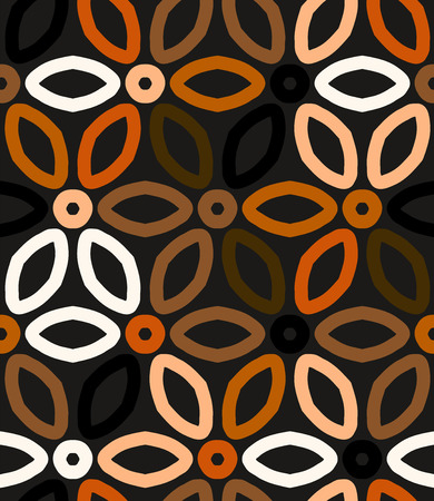 wallpaper floral: Abstract geometric vector pattern in natural multiple brown colors with floral motif. Elegant vector background with geometric shapes. Bold print for winter fall fashion or wallpaper. Seamless texture