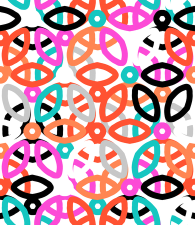 motifs: Vector geometric pattern with floral motifs and multicolored simple basic flowers.