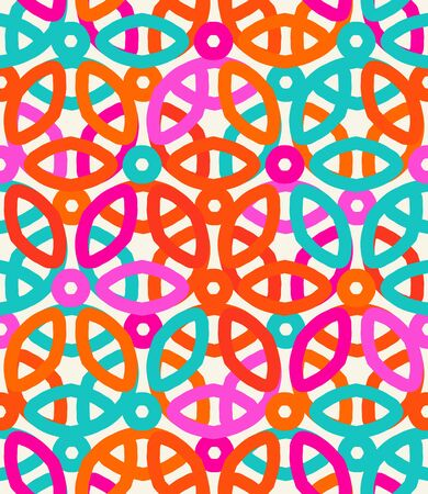 Vector geometric pattern with floral motifs and multicolored simple basic flowers.