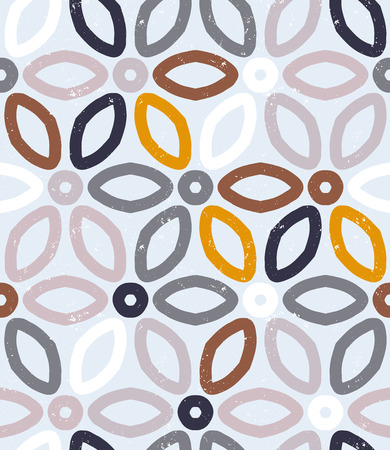 basic shapes: Vector geometric pattern with floral motifs and multicolored simple basic flowers.