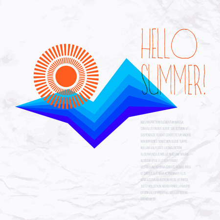 sun rising: Vector geometric illustration with sun symbol and stylized waves or mountains. Retro design template for a hotel logo or brochure with ocean and beach. Concept of summer sale and vacation