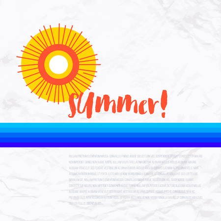 rising temperature: Vector geometric illustration with sun symbol and ocean with small waves. Design template in retro style for logo or card with ocean and beach. Concept of summer sale, vacation, solar and water power