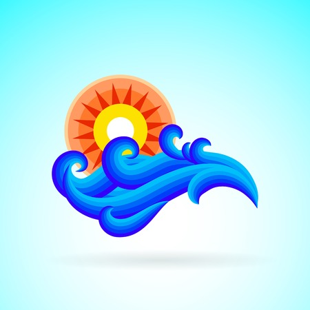 Vector illustration with waves and sun symbol and splashing water on blue background. Design template for hotel logo or beach party invitation in retro style. Concept of summer sale and vacation